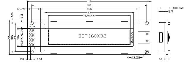 点阵数:160X32 dots LCD类型:STN,蓝屏,黄绿屏 外型尺寸:116.044.012.5 视域尺寸:99.024.0 视角: 6 oclock 驱动电压:5V 控制器:ST7920 背 光: 接 口:并口 工作温度:-20~+70 储存温度:-30~+80 产品特点:160 x 32 点高解析度,高对比度显示,汉字显示每行十个字,可显示两行,5V 单电源供电,适合薄型仪器设备。