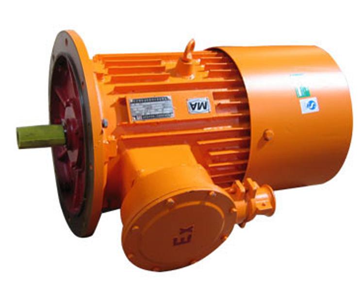 该产品为煤矿井下专用防爆电机,外壳由钢板焊接结构,电机与绞车连接