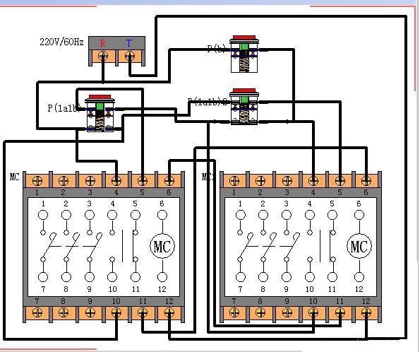 短路保护由熔断器担负,过载有热继电器承担。   这个回路是比较简单的,大致原理是保证电机正转时反转不能接通,而反转时正转也不能接通,否则同时吸合接触器就会使三相交流电在接触器下口形成短路,所以要在回路中加闭锁,再有就是无论反转还是正转都要求随时可以停止电机运行,因此停止按钮要串联,起纽要并联。