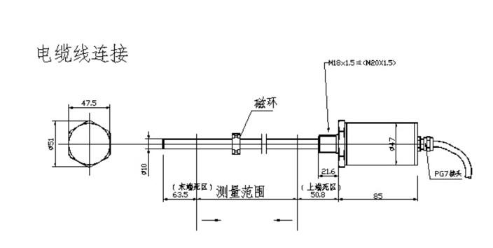 SMW-CTS油缸内置磁致伸缩位移传感器 量程 50-5000mm 一、 产品介绍: SMW-CTS磁致伸缩位移传感器系列,有效行程50mm~5000mm,两端缓冲行程由客户定义。有电压、电流、RS485输出。内置进口波导丝作为测量单元,经DSP数字信号处理,精度高,无温漂,无接触,抗干扰性能强,寿命长达二十年;测杆耐高温300C,耐腐蚀,耐压可达64MPa,可以适用在大多数油缸位移测量应用场合。 二、技术参数: