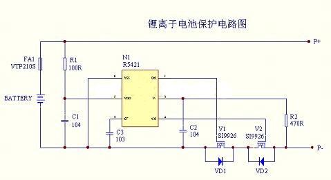 fuse为熔断器起二级保护,c2为延时电容,该电路具有过充电保护,过放电
