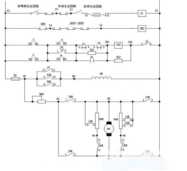 dcs 上行显示    dcx 下行显示    s 上行继电器(控制电动机正转)