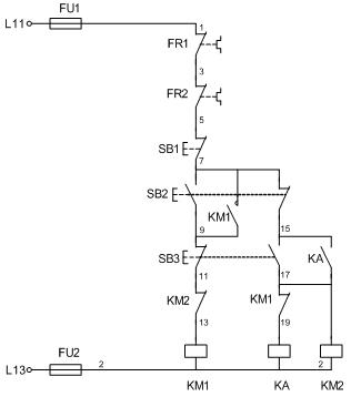 双速电动机控制电路  接触器控制的双速电动机电气原理图 一、双速电动机简介 双速电动机属于异步电动机变极调速,是通过改变定子绕组的连接方法达到改变定子旋转磁场磁极对数,从而改变电动机的转速。 根据公式;n1=60f/p可知异步电动机的同步转速与磁极对数成反比,磁极对数增加一倍,同步转速n1下降至原转速的一半,电动机额定转速n也将下降近似一半,所以改变磁极对数可以达到改变电动机转速的目的。这种调速方法是有级的,不能平滑调速,而且只适用于鼠笼式电动机。 此图介绍的是最常见的单绕组双速电动机,转速比等于磁极倍数
